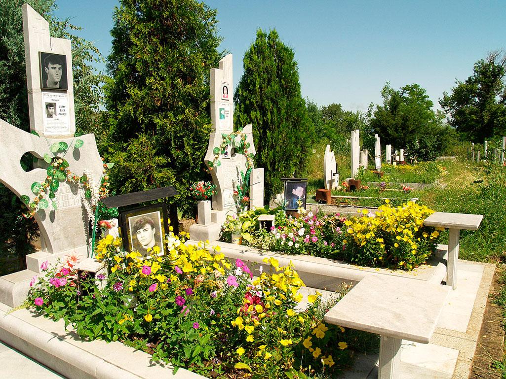 Могилы с посаженными цветами фото